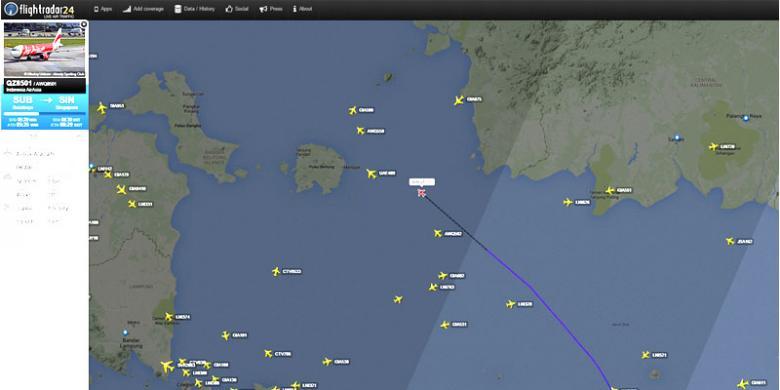 Lokasi Terakhir Pesawat Air Asia Berdasarkan Pantauan Flightradar24