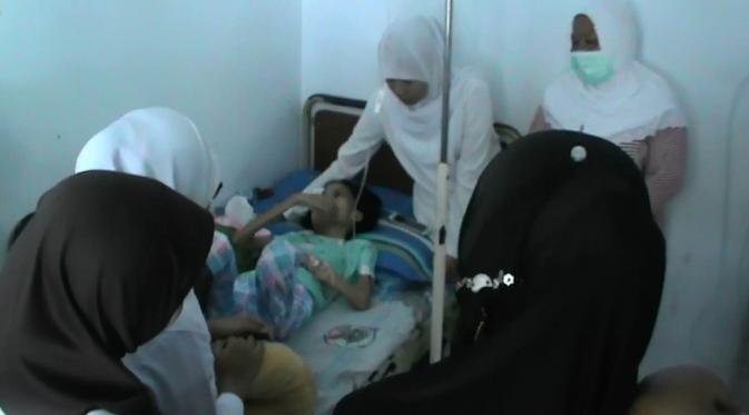 Kondisi Vivi Olii, penderita tumor mata stadium 4 di Gorontalo (copyright liputan6/Aldiansyah)