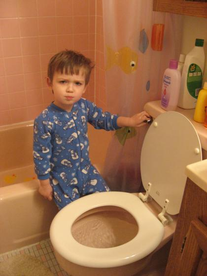 menyiram toilet
