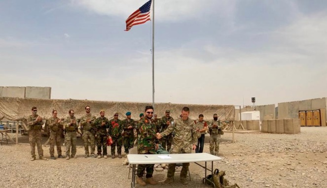 Handover ceremony at Camp Anthonic, from U.S. Army to Afghan Defense Forces in Helmand province, Afghanistan